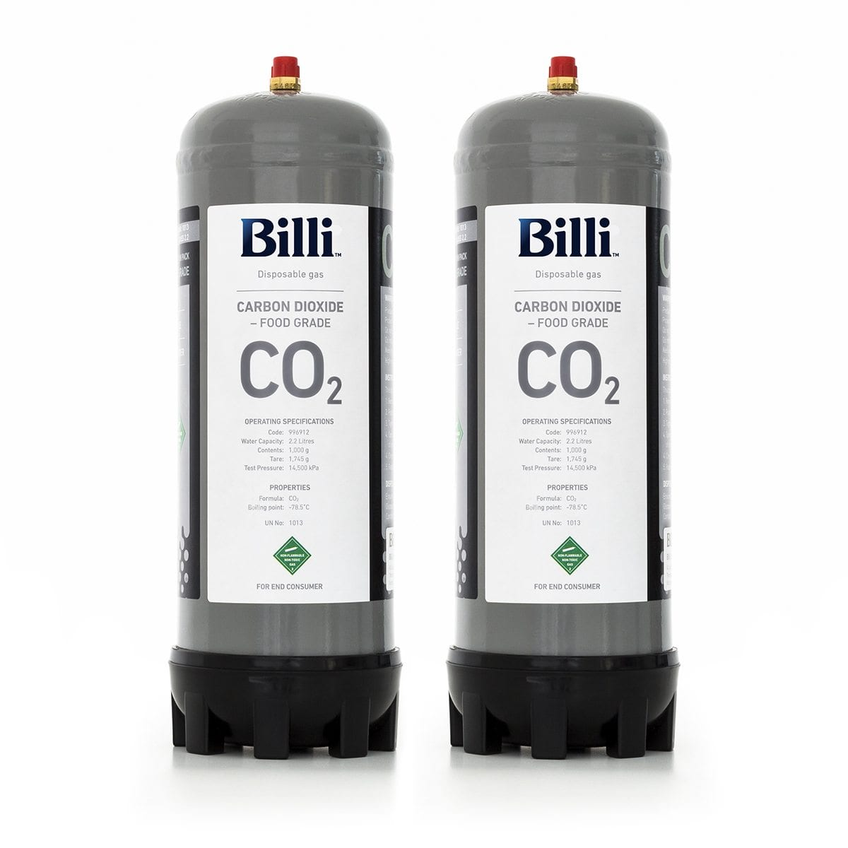 996912 Billi Sparkling Replacement Co2 Cylinder 2 Pack