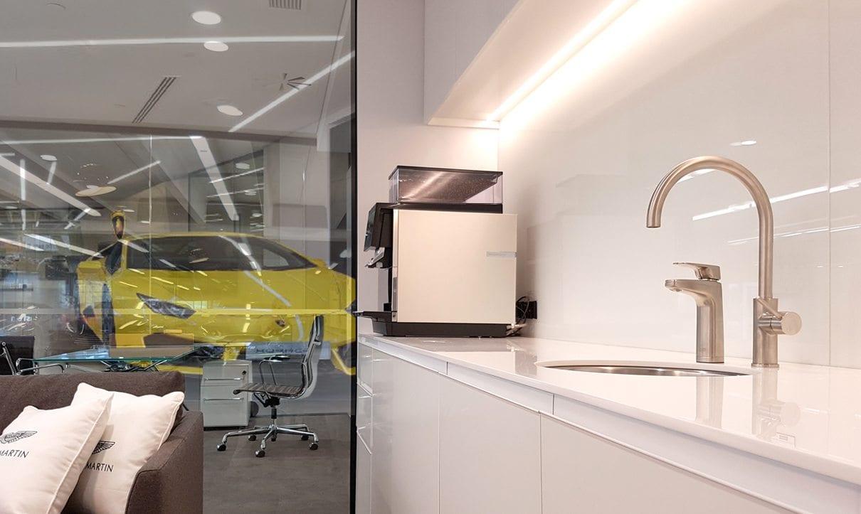 Brushed XL dispenser in office kitchen