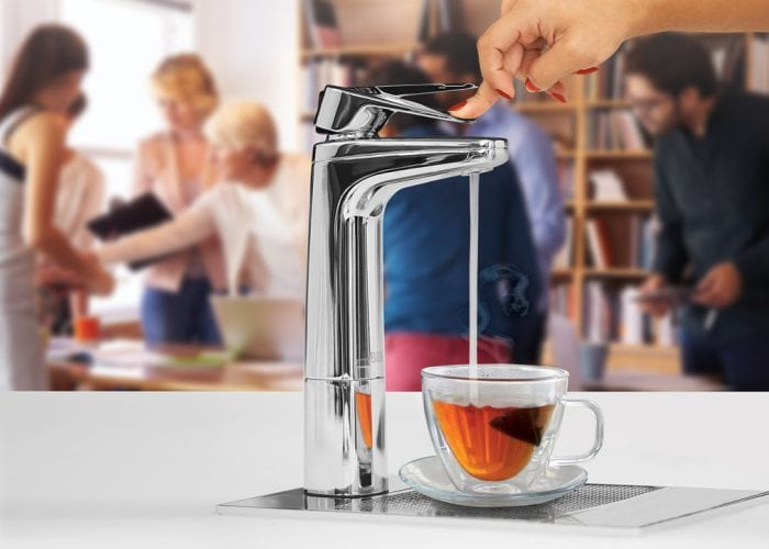Billi chrome XL dispensing boiling water in tea cup