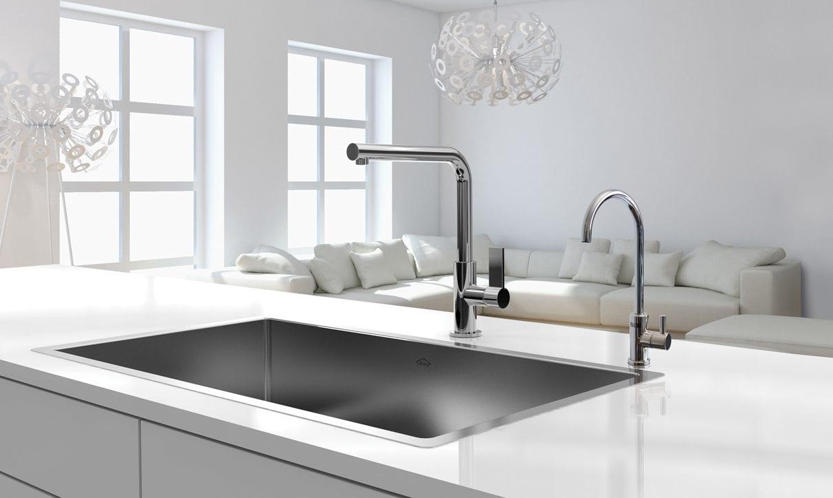 White Living room behind kitchen bench with Chrome slimline dispenser
